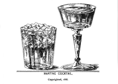"Illustration of a ""matine cocktail,"" the precursor to a gin martini"