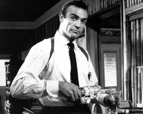 Sean Connery as James Bond enjoying a gin martini