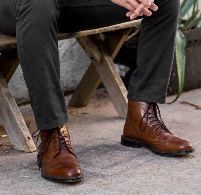 Stafford Deacon Wingtip Leather Boot