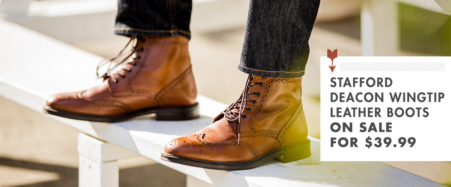Stafford Deacon Wingtip Leather Boots On Sale for $39.99