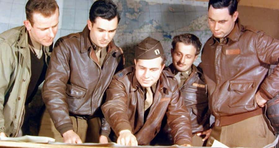 Military officers wearing leather jackets