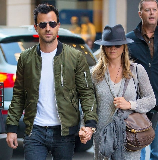 Justin Theroux green and black bomber jacket outfit white t-shirt