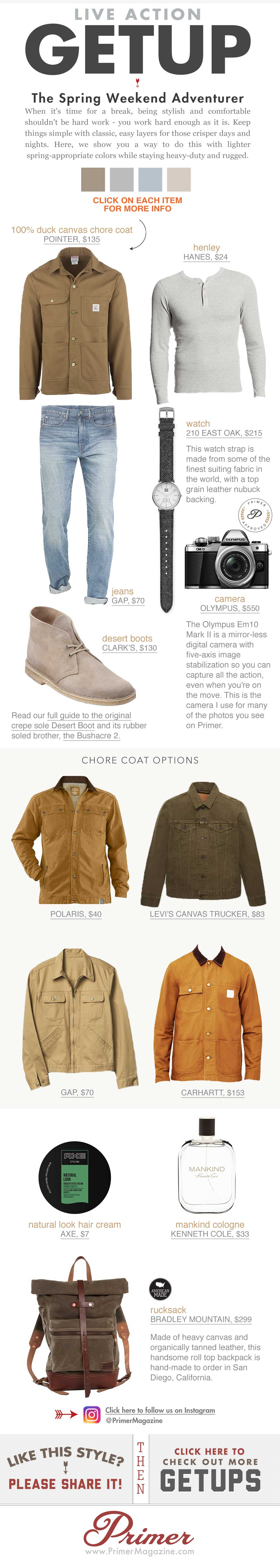 The Getup, spring outfit inspiration with tan coat gray henley, jeans, and desert boots