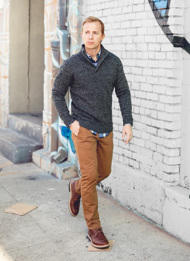 A man walking in brown pants