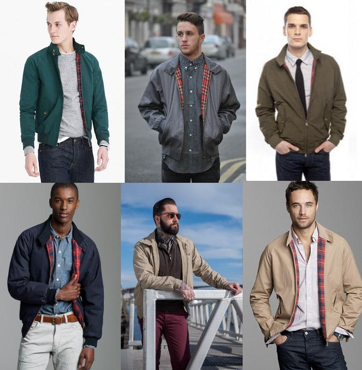 6 photos of men wearing harrington jackets