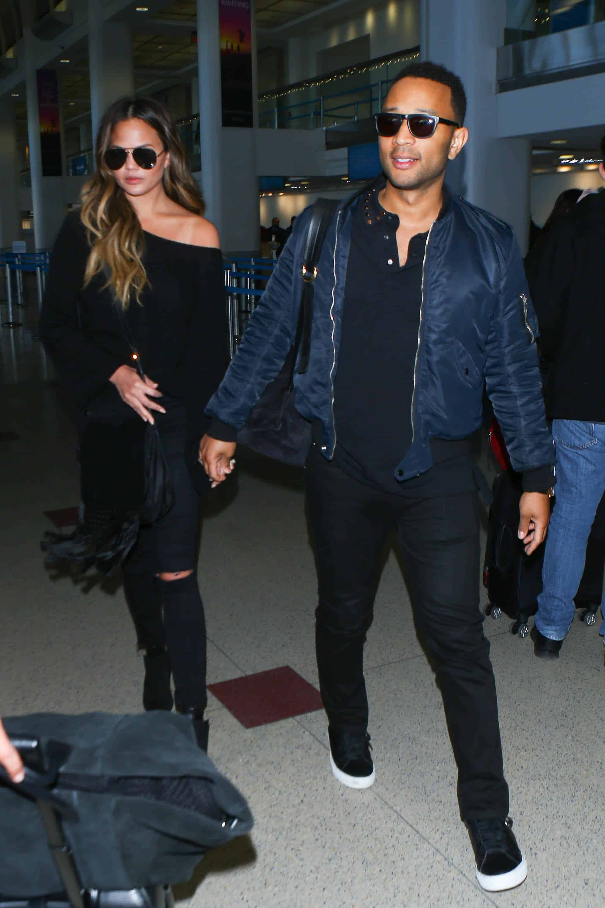 John Legend blue bomber jacket