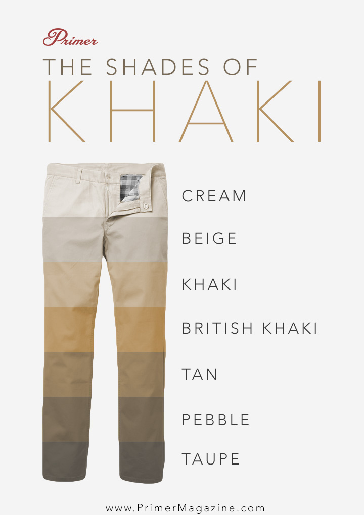 Shades of Khaki Pants - chino colors