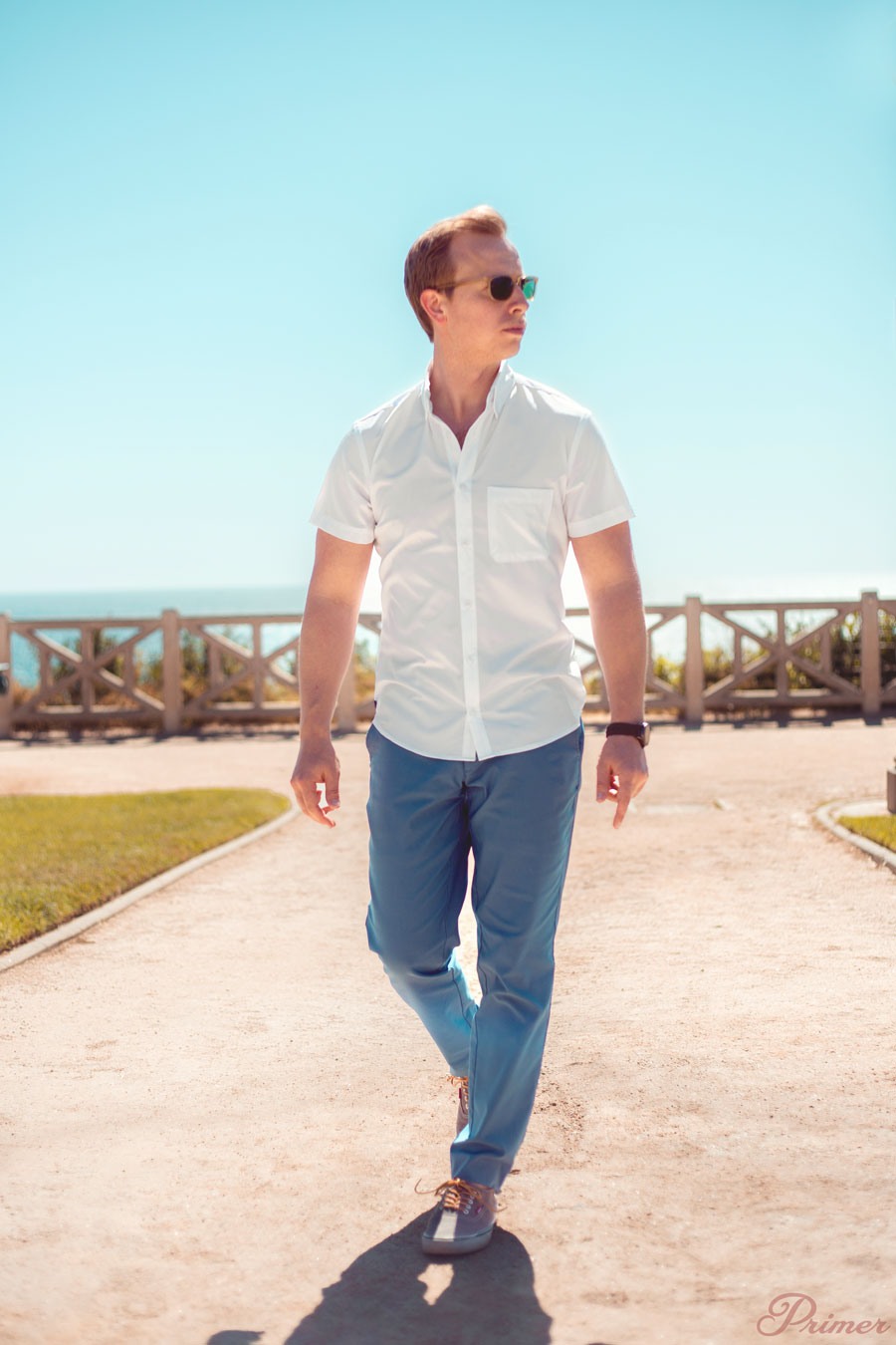 hot weather men outfit - performance business casual from Mizzen and Main