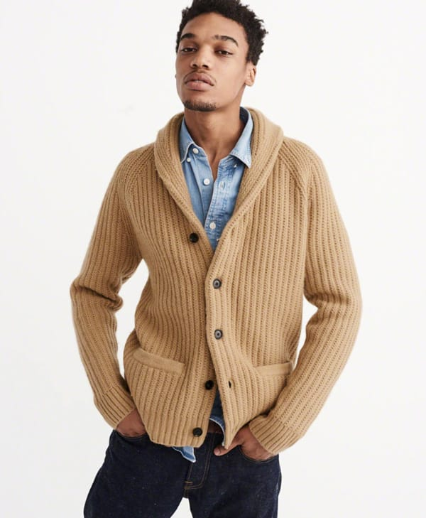 Tan shawl collar sweater