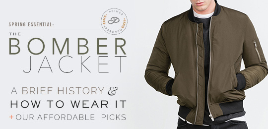 Man wearing bomber jacket with article title The Bomber Jacket next to him