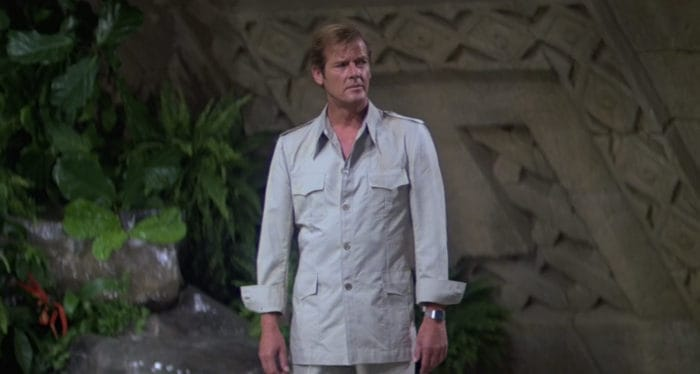 Roger Moore in a safari jacket as James Bond