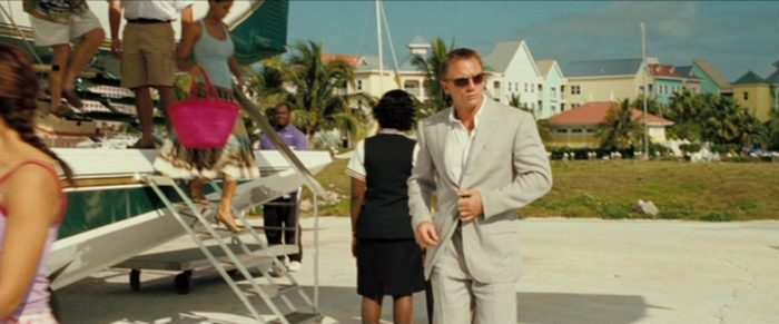 Daniel Craig as James Bond in a light linen suit