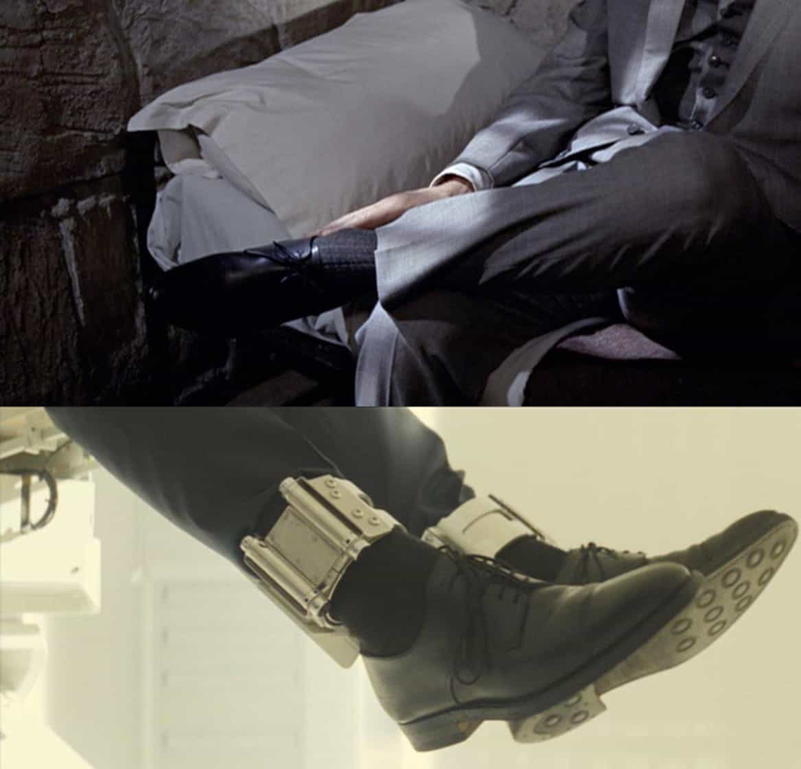 Comparison image showing the evolution of Bond's derby dress shoes from Goldfinger to contemporary