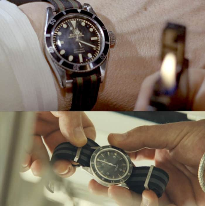 Comparison image showing Sean Connery's Rolex with NATO strap versus Daniel Craig's Omega with NATO strap