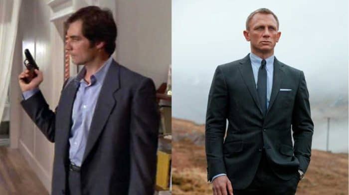 Timothy Dalton as James bond in a blue suit and Daniel Craig in a tailored suit as James Bond