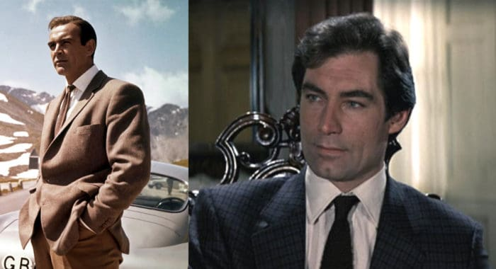 Comparison image showing Sean Connery and Timothy Dalton wear interesting suit patterns to fit their surroundings