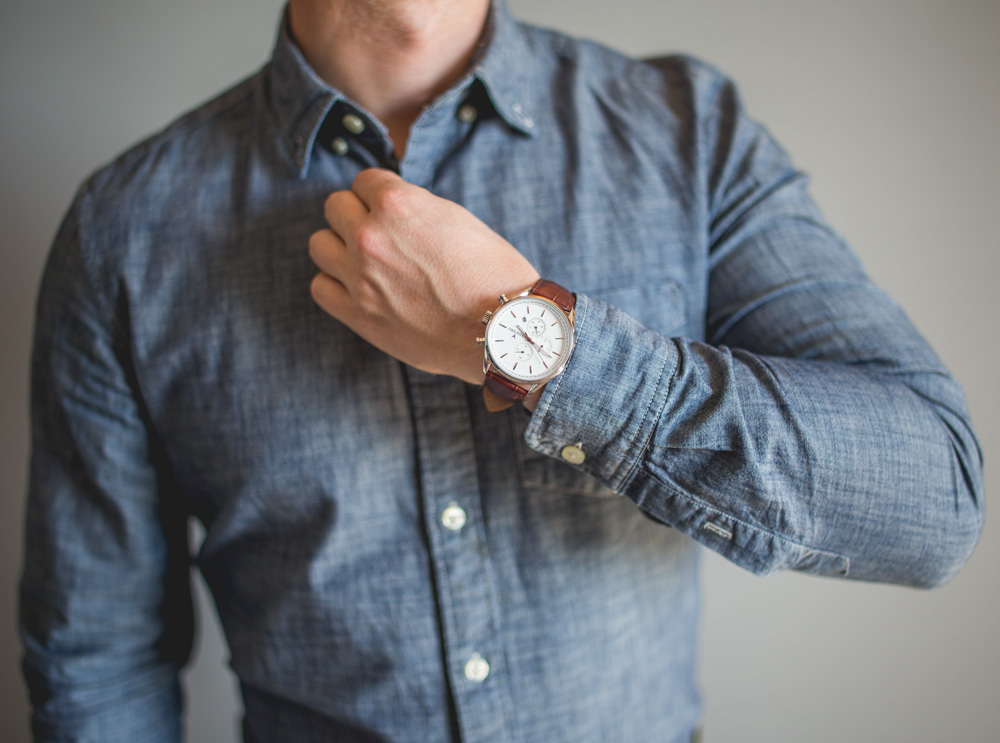chrono watch jcrew factory blue chambray shirt