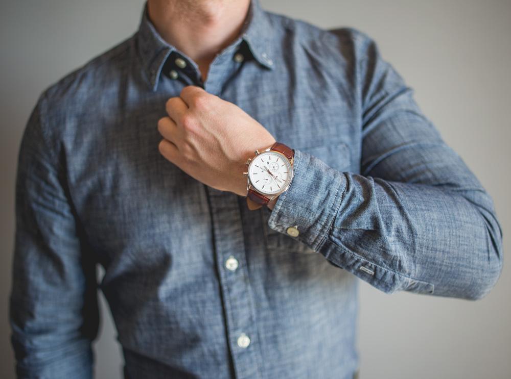 chrono watch jcrew factory blue chambray shirt