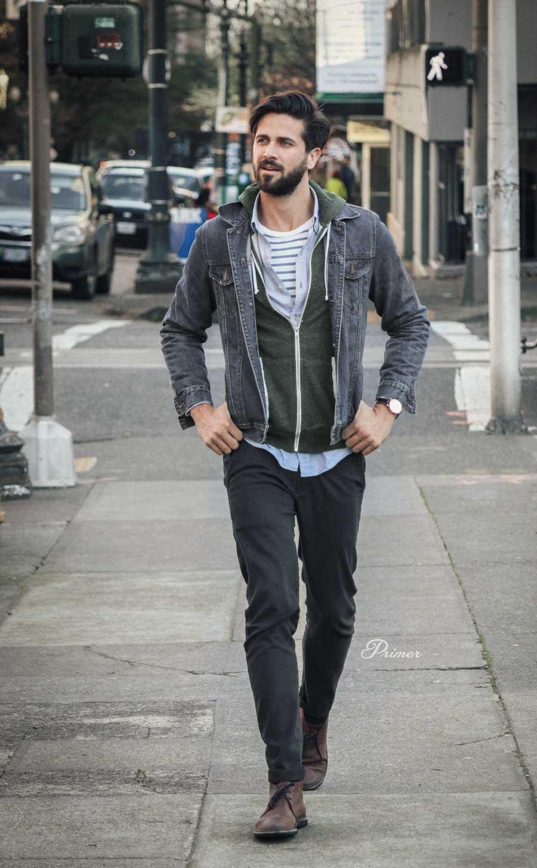 men fashion outfit ideas spring gray denim jacket hoodie
