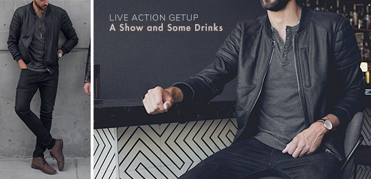 A Show and Some Drinks - A man wearing a black jacket