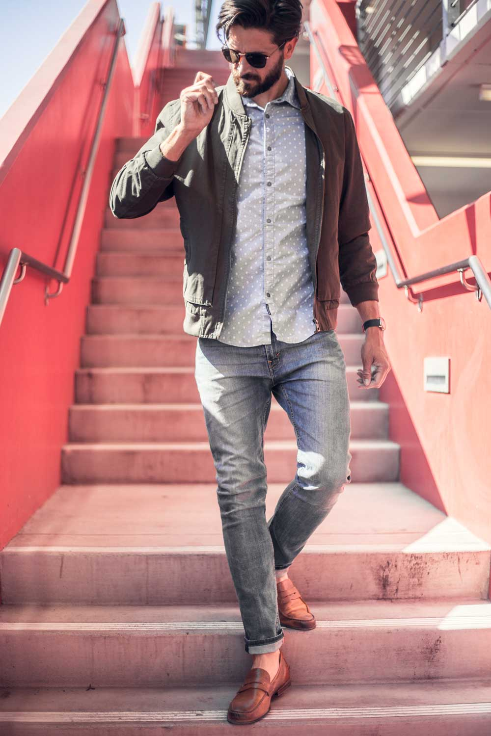 men spring fashion outfit ideas style inspiration   green bomber jacket loafers light wash jeans