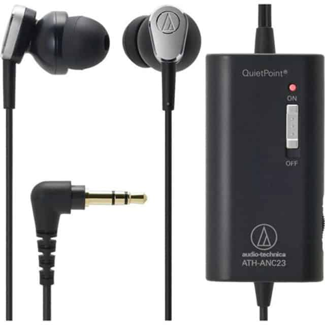 A pair of Audio-Technica QuietPoint Active Noise-Cancelling In-Ear Headphones with noise canceling unit
