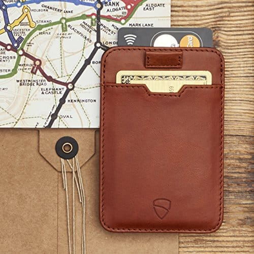 A Vaultskin Chelsea Slim Card Sleeve Wallet with RFID Protection in tan leather