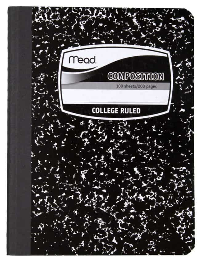 Close up image of a Mead college ruled composition notebook