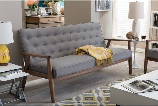 Baxton Studio Sorrento Mid-Century Retro Modern Fabric Upholstered Wooden 3-Seater Sofa, Grey, $365.99