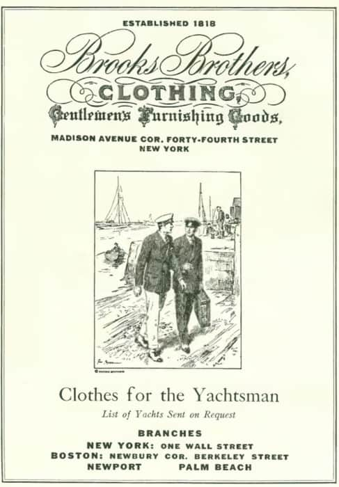 Vintage Brooks Bros advertisement showing clothing for yachtsmen