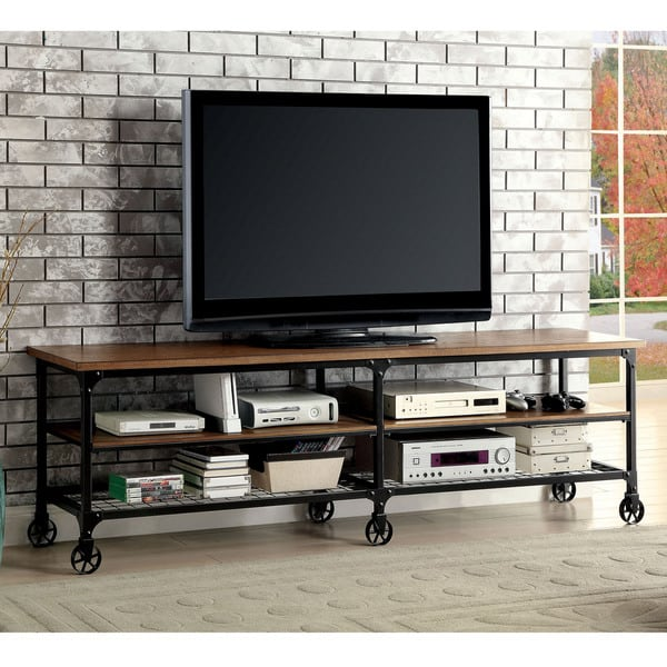 Furniture of America Daimon II Industrial Medium Oak TV Stand, $268.39