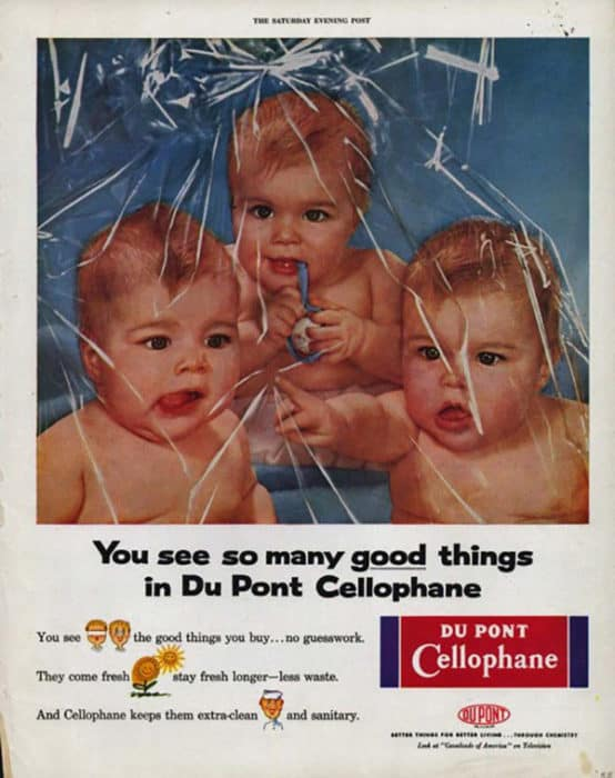 Vintage DuPont company ad showing babies and cellophane