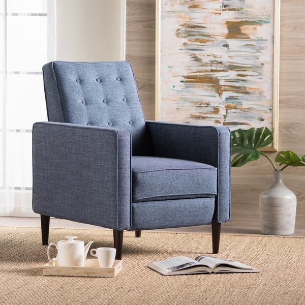 Mervynn Mid-Century Button Tufted Fabric Recliner Club Chair by Christopher Knight Home,$201.87