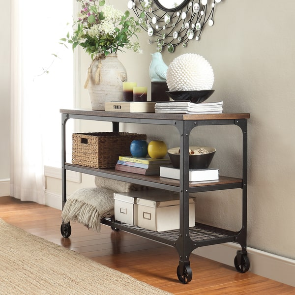 Nelson Industrial Modern Rustic Console Sofa Table TV Stand, $239.99