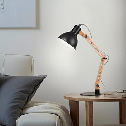 Tomons Scandinavian Swing Arm Wood Desk Lamp, $36.99