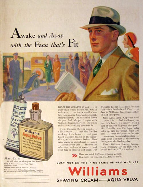 A vintage ad showing aqua velva aftershave