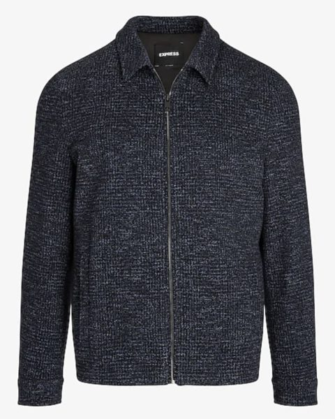 express textured dark blue harrington jacket