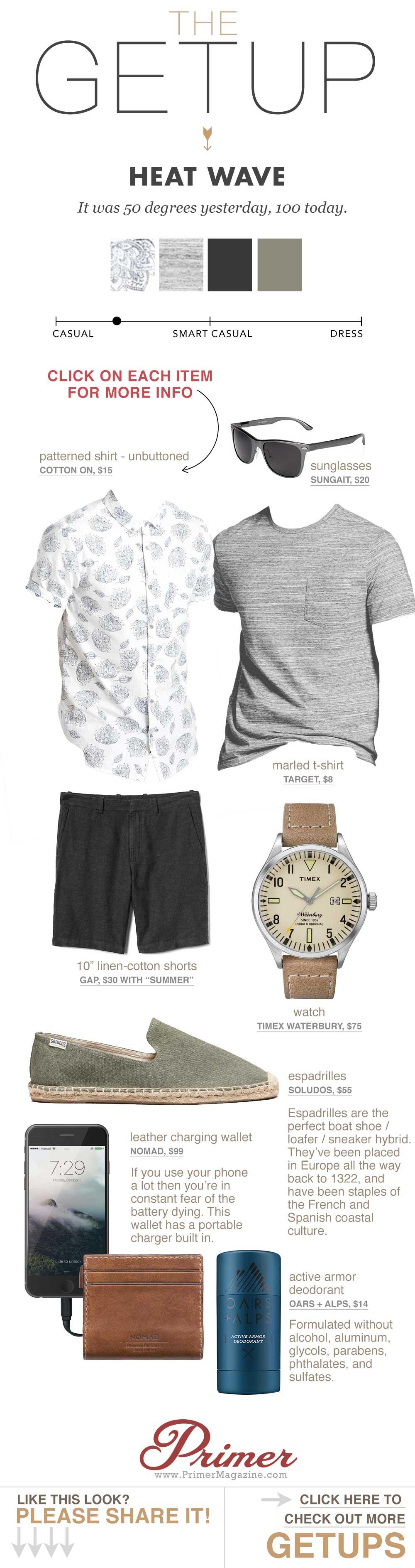 men's summer style - black shorts patterned short sleeve shirt espadrilles