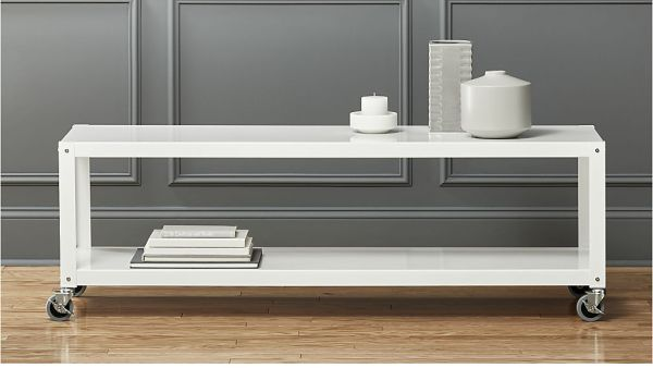 white rolling tv stand or coffee table, $169