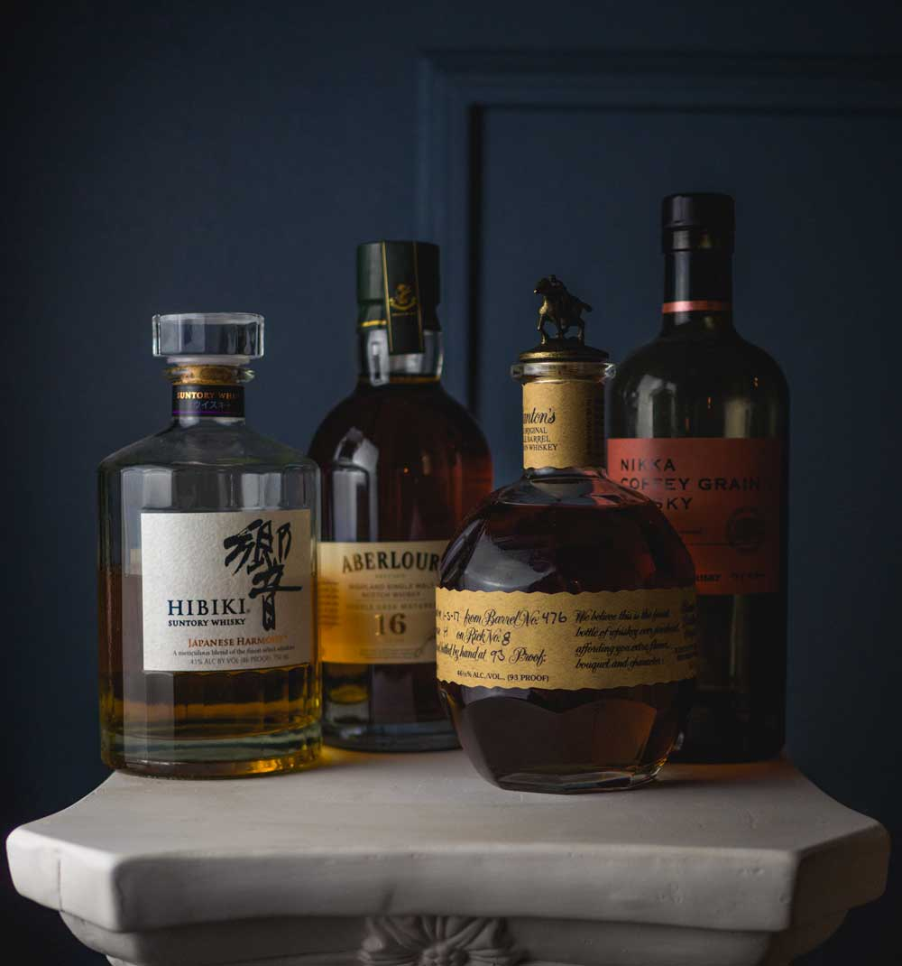 Hibiki, Aberlour 16, Blantons, Nikka Coffee Grain whiskey photo photography