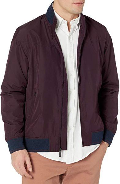 perry ellis dark red harrington style jacket