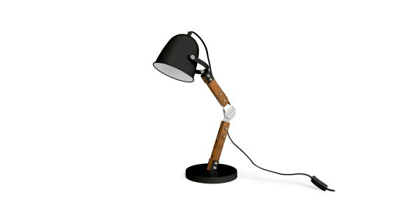pivot black table lamp, $99