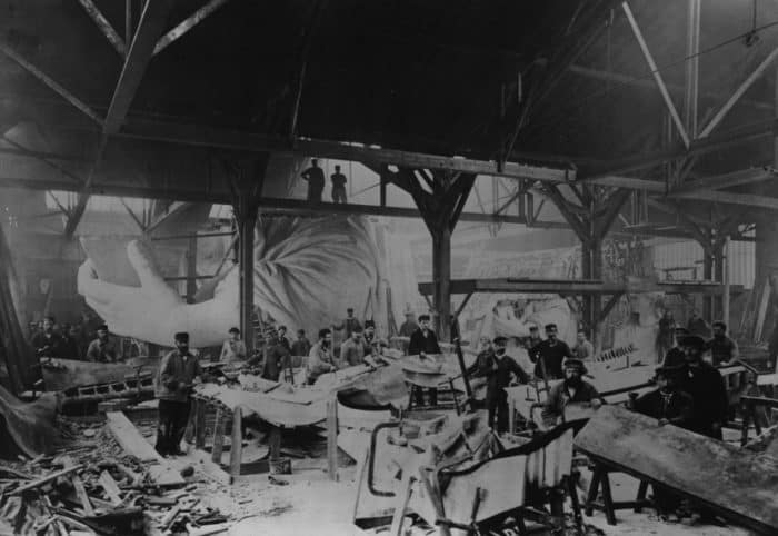 Vintage photo of the The Statue of Liberty under construction
