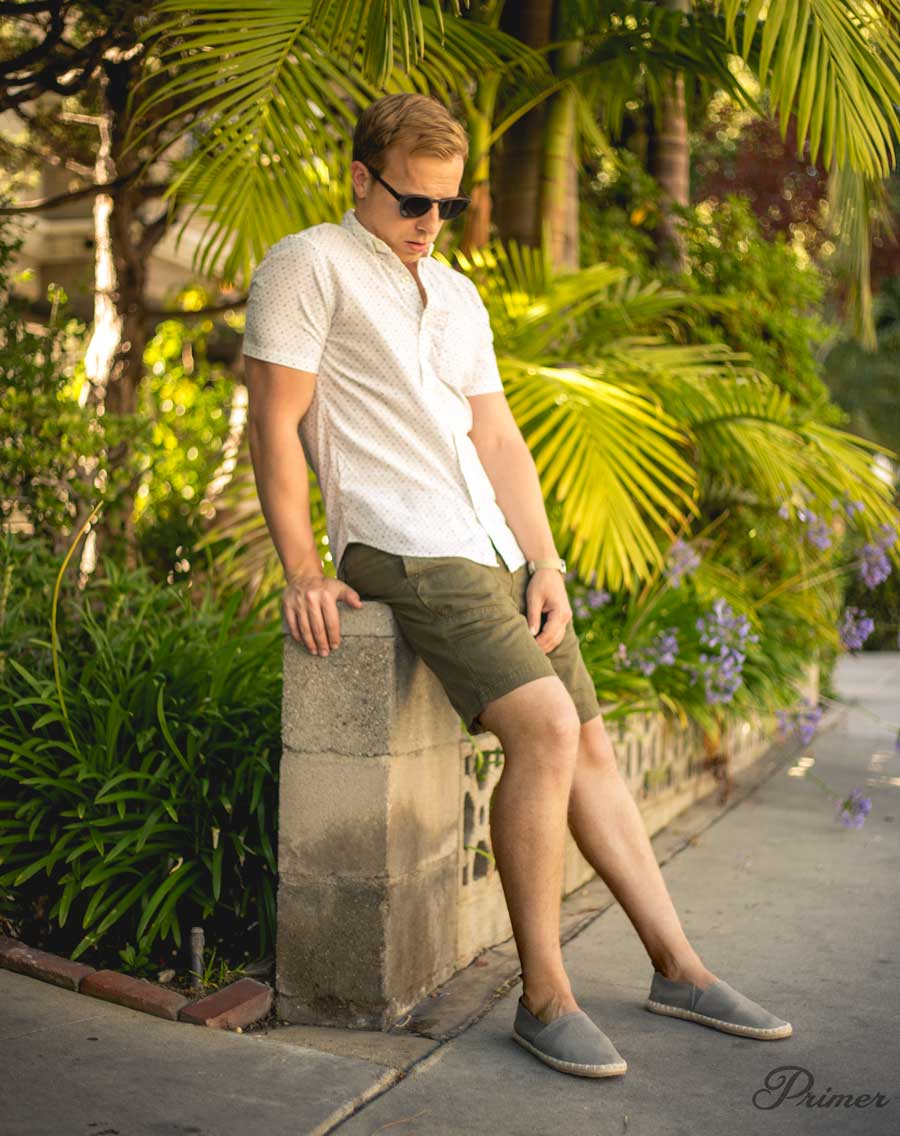 men summer outfit - espadrilles green shorts - Primer The Getup