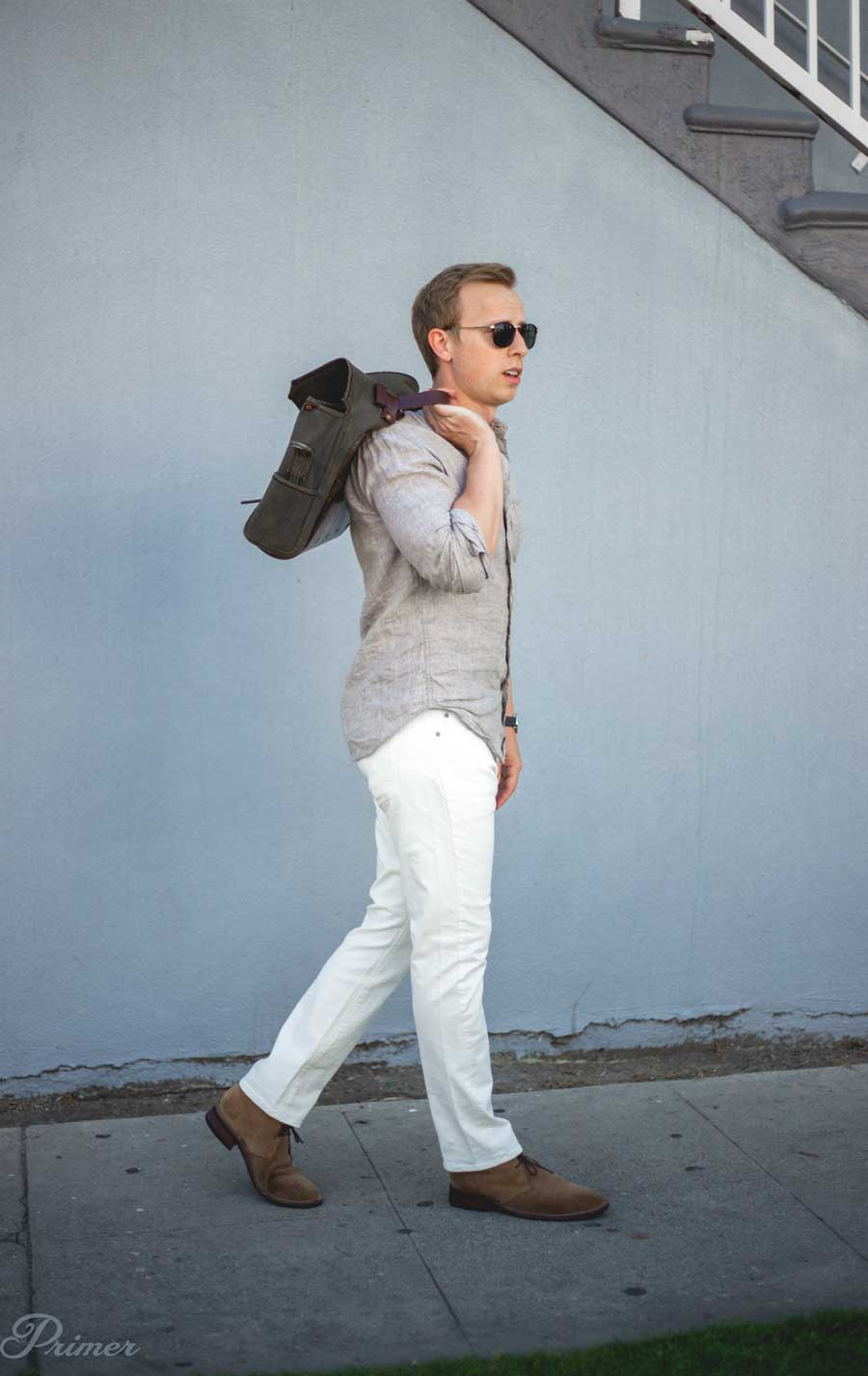 men's white jeans outfit - linen shirt summer style