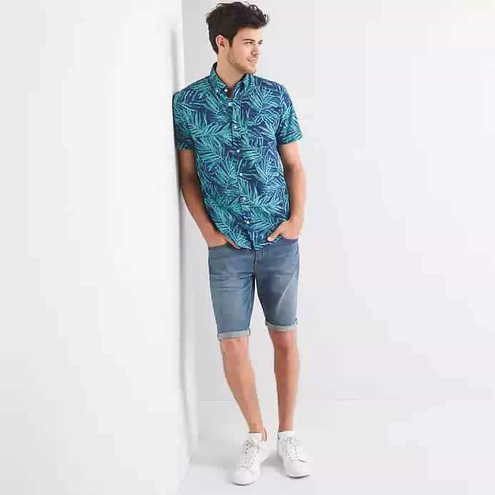 gap short sleeve floral shirt