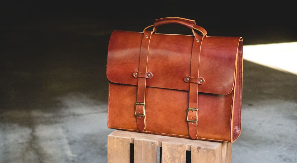 A brown leather briefcase