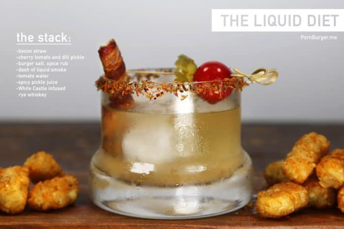Image of a deconstructed burger: a cocktail with burger accents