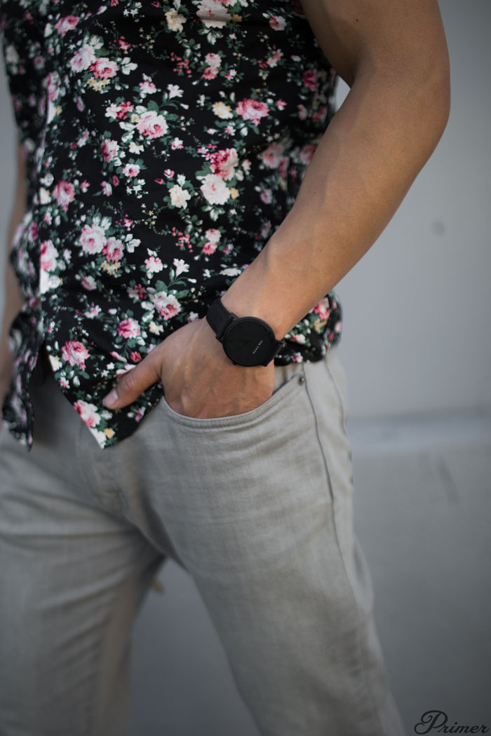 modern floral shirt black watch gray jeans - men summer outfit