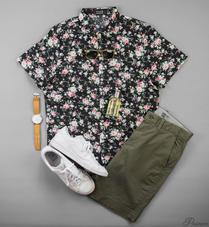 men summer style - short sleeve floral shirt green shorts white sneakers flat lay